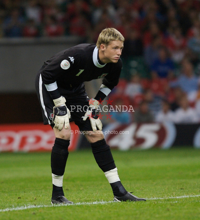 Cardiff, Wales - Saturday, September 8, 2007: Wales' goalkeeper Wayne Hennessey in action against Germany during the Euro 2008 Qualifying Group D match at the Millennium Stadium. (Photo by Zaneta Kukucova/Propaganda)