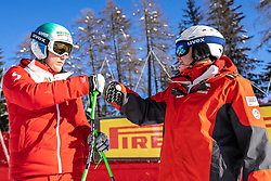 14.02.2021, Cortina, ITA, FIS Weltmeisterschaften Ski Alpin, Abfahrt, Herren, im Bild v.l. Otmar Striedinger (AUT), Andreas Puelacher (Sportlicher Leiter ÖSV Ski Alpin Herren) // left to right: Otmar Striedinger of Austria Andreas Puelacher Austrian Ski Association head Coach alpine Men's in action during the mens Downhill Race of FIS Alpine Ski World Championships 2021 in Cortina, Italy on 2021/02/14. EXPA Pictures © 2021, PhotoCredit: EXPA/ Johann Groder