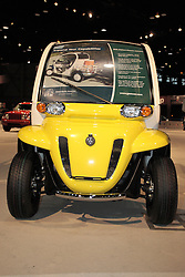 11 February 2009: 2009 GEM e6 XD, manufactured by GEM and powered by a 72 volt Shunt GE motor.  This vehicle is part of the green movement to find alternative fuels for vehicles and it runs solely on electricity provided by batteries. This unit is designed to carry 2 people and cargo. The Chicago Auto Show is a charity event of the Chicago Automobile Trade Association (CATA) and is held annually at McCormick Place in Chicago Illinois.