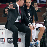 Anadolu Efes's coach Ufuk SARICA (L) and Sasha VUJACIC (R) during their BEKO Basketball League derby match Galatasaray between Anadolu Efes at the Abdi Ipekci Arena in Istanbul at Turkey on Sunday, November 13 2011. Photo by TURKPIX