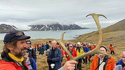 Rob Edwards Showing Raindeer Antlers On Shackleton Hike - Last 6 Km. From Fortuna Bay To Stomness Harbor