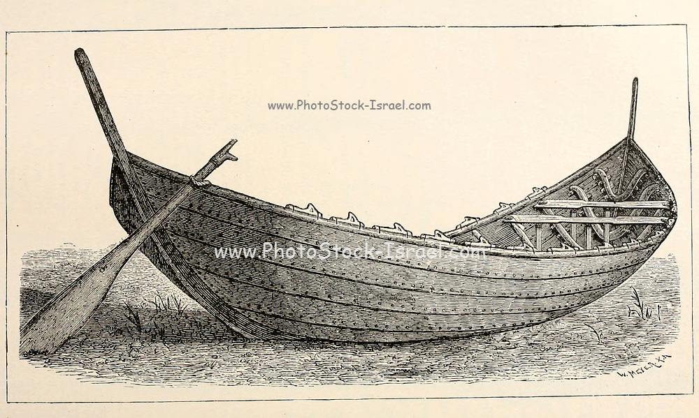 reconstructed Viking boat from the book '  The viking age: the early history, manners, and customs of the ancestors of the English speaking nations ' by Du Chaillu, (Paul Belloni), 1835-1903 Publication date 1889 by C. Scribner's sons in New York,