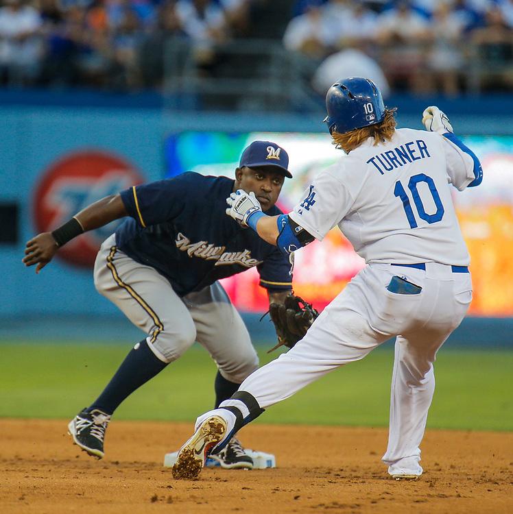 Aug 16 2014 - Los Angeles U.S. CA - Brewers SS # 3 Elian Herrera during MLB game between LA Dodgers and  Milwaukee Brewers win 3-2 at Dodger Stadium Los Angeles Calif.