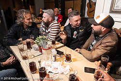 Stefano Martinelli, Andrea Radaelli, Samuele Reali and others of the Italian contingency at the Custom Chrome Europe party during the Intermot International Motorcycle Fair. Cologne, Germany. Friday October 5, 2018. Photography ©2018 Michael Lichter.