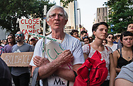 New Orleans,  July 19, 2019,  an anti-ICE protest-, 'Light for Liberty Vigil - End Human Detention Camps'- in front of the Immigration Office in New Orleans.