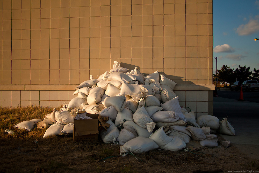 Remnants of Preparation, the sandbags lie in a pile near a northern Atlantic City Parking Garage.