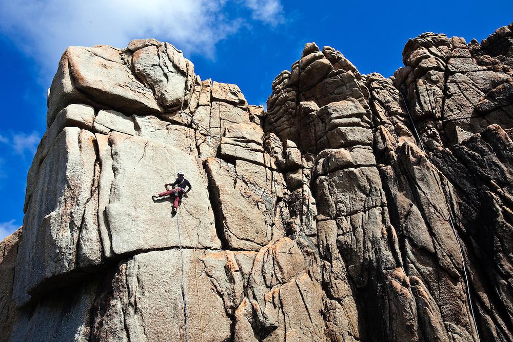 """Climber on 'Demolition""""' E6 6a at Sennen, Cornwall, England"""