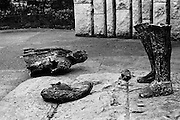 Pieces of the statue of Theobald Wolfe Tone on St Stephen's Green. The statue was blown up by a loyalist bomb. A report at the time noted that 'Huge slabs of the bronze sculpture were hurled 20 feet in the air'.<br /> 08/02/1971