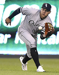 September 11, 2017 - Kansas City, MO, USA - Chicago White Sox right fielder Avisail Garcia reaches to grab a fly ball out on Kansas City Royals' Whit Merrifield in the first inning during Monday's baseball game on Sept. 11, 2017 at Kauffman Stadium in Kansas City, Mo. (Credit Image: © John Sleezer/TNS via ZUMA Wire)