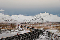 ICELAND - CIRCA MARCH 2015: Winding Route 1 over the Snaefellsness Peninsula in Iceland.