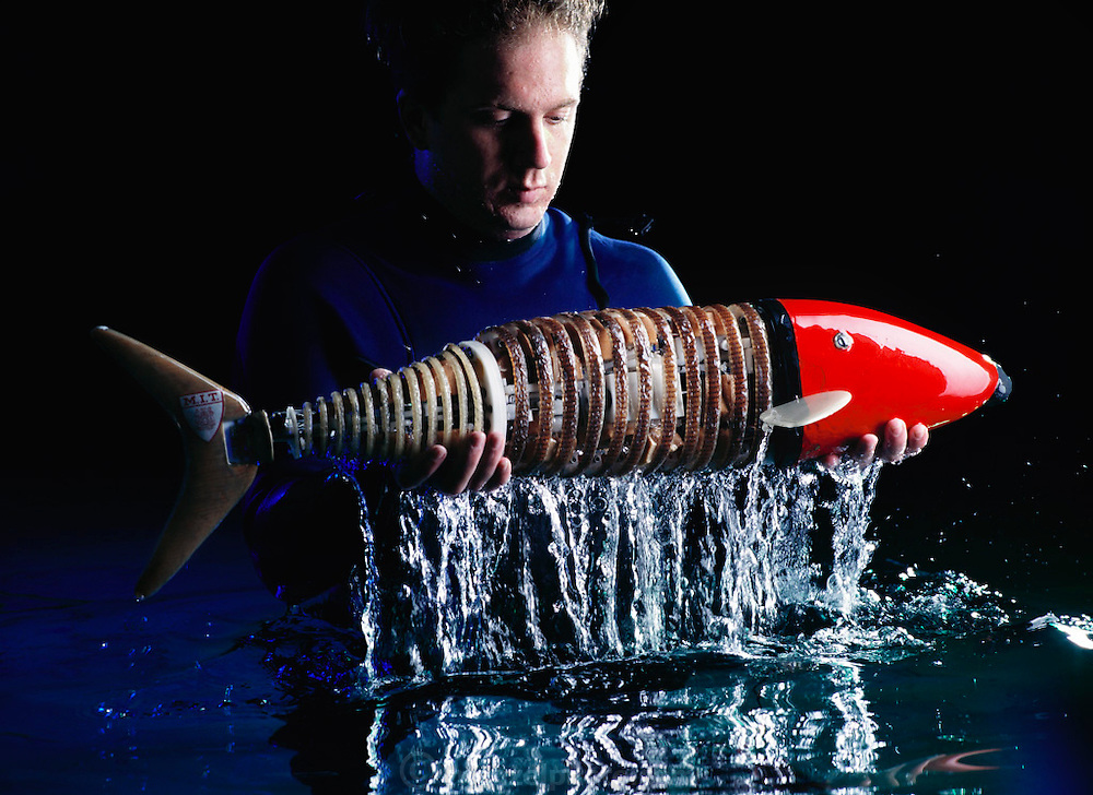 In this photo-illustration, graduate student Josh Davis (underwater, in a wet-suit) helps the RoboPike breach out of the water in order to show how well the robotic fish might be able to swim one day. The idea for the image of the RoboPike breaching came from the head of Ocean Engineering, Professor Triantafyllou, whose dream it is for a robotic fish to swim well enough to be able to jump out of the water.