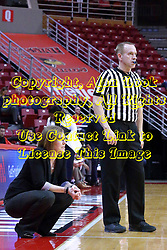 01 January 2017: Andrea Gorski and Brad Maxey during an NCAA Missouri Valley Conference Women's Basketball game between Illinois State University Redbirds the Braves of Bradley at Redbird Arena in Normal Illinois.
