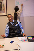 Purchase, NY – 31 October 2014. Peekskill High School student Jovanny Elliott making a point. The Business Skills Olympics was founded by the African American Men of Westchester, is sponsored and facilitated by Morgan Stanley, and is open to high school teams in Westchester County.