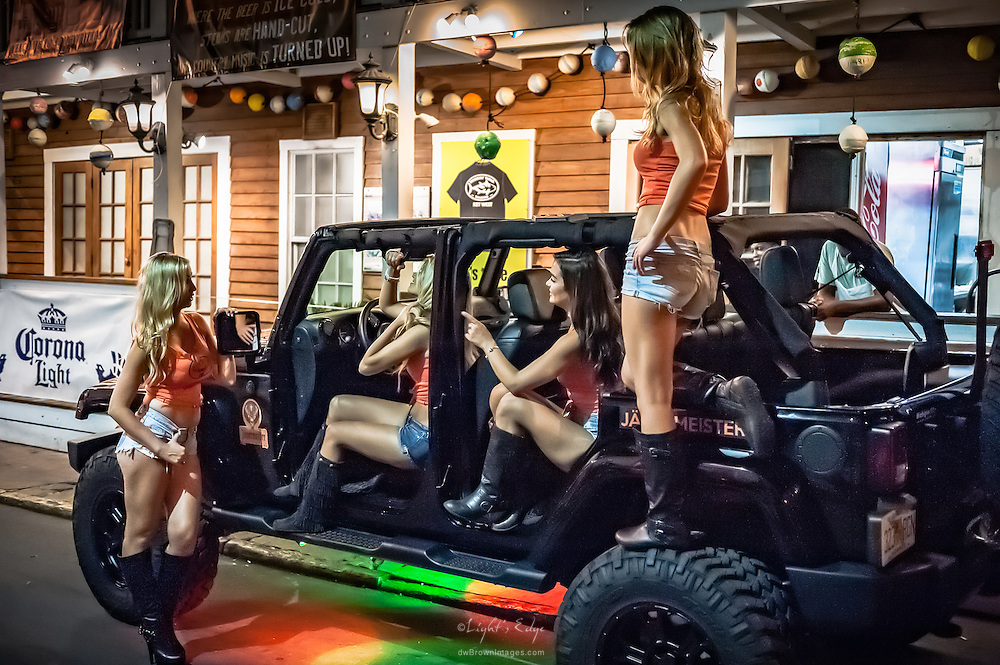 These girls were a feature of an on-going Jägermeister promotional blitz in Key West: stop in front of a bar and/or restaurant, hang around for a bit and then move on to the next spot.