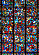 Medieval stained glass Window of the Gothic Cathedral of Chartres, France - dedicated to The Infancy and Public Ministry of Christ. A UNESCO World Heritage Site. .<br /> <br /> Visit our MEDIEVAL ART PHOTO COLLECTIONS for more   photos  to download or buy as prints https://funkystock.photoshelter.com/gallery-collection/Medieval-Middle-Ages-Art-Artefacts-Antiquities-Pictures-Images-of/C0000YpKXiAHnG2k