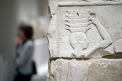 Egyptian stone carving on display at Neues Museum or New Museum on Museumsinsel or Museum Island in Berlin