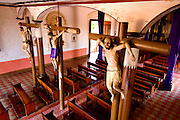 Crucifixtion statues greets worshippers in El Calvario Church in Leon, Nicaragua.