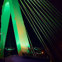 """One of the """"A"""" pillars of the Aomori Bay Bridge - an ascetically pleasing cable-stayed bridge, with the emphasis on the design element of """"A"""" for the prefecture and the city."""