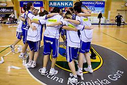 Team of Celje celebrates at finals match of Slovenian 1st Women league between KK Hit Kranjska Gora and ZKK Merkur Celje, on May 14, 2009, in Arena Vitranc, Kranjska Gora, Slovenia. Merkur Celje won the third time and became Slovenian National Champion. (Photo by Vid Ponikvar / Sportida)