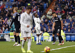 January 19, 2019 - Madrid, Madrid, Spain - Vinicius Jr (Real Madrid) seen reacting during the La Liga football match between Real Madrid and Sevilla FC at the Estadio Santiago Bernabéu in Madrid. (Credit Image: © Manu Reino/SOPA Images via ZUMA Wire)