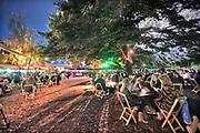 Nederland, Nijmegen, 28-8-2020  Het Mout Bierfestival heeft toestemming gekregen om in een park het jaarlijkse bierfestival te houden  Onder strikte coronamaatregelen en met toezichthouders die over het terrein lopen . De tafeltjes met 1000 stoelen zijn ruim en coronaproof opgesteld en de mensen worden door obers bediend. Veel mensen, vooral jongeren, hadden een parapluie meegenomen zodat de regen ze niet kon wegjagen . Er zijn ongeveer 750 mensen aangemeld . Foto: Flip Franssen