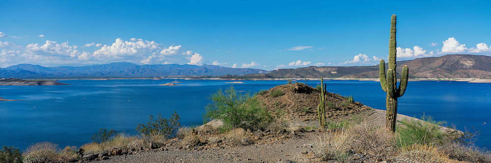 Trail leading to the shore of Lake Pleasant in the Sonoran Desert of southern Arizona