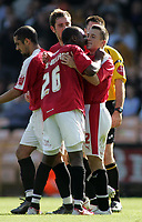 Photo: Paul Thomas.<br /> Port Vale v Bristol City. Coca Cola League 1. 23/09/2006.<br /> <br /> Scott Brown (R) is congratulated by Bristol team mate Jennison Williams (26) after scoring.