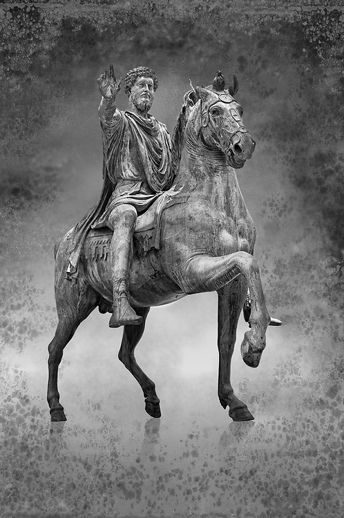 Original Roman bronze statue of Emperor Marcus Aurelius on horseback. 175 AD. Marcus Aurelus was the last of the Five Good Emperors, and is also considered one of the most important Stoic philosophers. In 1979 it was discovered that the the equestrian statue of Marcus Aurelius, in the courtyard of the Capitline Museum, had suffered badly from corrosion, particularly in its legs. The staue was removed from Michael Angelo's plinth and was transferred to the National Instution for the Restoration of works of art for preservation. On the 11th of April 1990 the restored statue was returned to the Cpitaline courtyard and covered with a glass protective casing. The glass box ruined the design of Michael Angelo's courtyard and it was decided to make a copy to display in the courted and move the original into the Capitoiline Musuem. This is a rare example of a bronze equestrian statue as it became common practice for the Romans in the late empire to melt down bronze statues to mint coins. The Capitoline Museums, Rome.  Black and White Wall art print by Photographer Paul E Williams