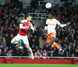 October 31, 2018 - London, England, United Kingdom - London, UK, 31 October, 2018.L-R Aaron Ramsey of Arsenal and Blackpool's Marc Bola.During Carabao Cup fourth Round between Arsenal and Blackpool at Emirates stadium , London, England on 31 Oct 2018. (Credit Image: © Action Foto Sport/NurPhoto via ZUMA Press)