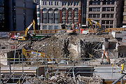 Demolition site by contractor Erith at the northern end of London Bridge, City of London.