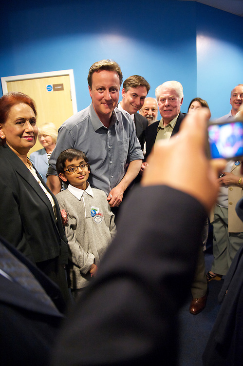 Conservatives leader David Cameron visits Dagenham, Essex, UK, delivering a speech to supporters at a Rush Green Medical Center.  With the general election looming on 6 May 2010, considered to be the closest and most fiercely fought in decades, candidates are campaigning at a torrid pace, holding many events throughout the UK.