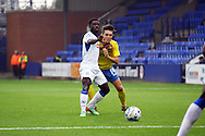 Tranmere Rovers' Abdulai Baggie and Exeter City's Matt Grimes battle for the ball. Skybet football league two match, Tranmere Rovers v Exeter city at Prenton Park in Birkenhead, the Wirral on Saturday 20th Sept 2014.<br /> pic by Chris Stading, Andrew Orchard sports photography.