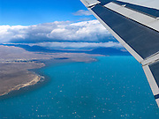 """A jet departing El Calafate International Airport (code FTE, 20 km east of town) flies over Lake Argentina in the southern Andes mountains, north towards Buenos Aires, Argentina, South America. Glaciers grind rock finely into glacial flour which flows suspended in water into the lake and creates a bright turquoise color. El Calafate is named from a little bush with yellow flowers and dark blue berries that is very common in Patagonia: the calafate (Berberis buxifolia), Spanish for """"caulk"""". El Calafate is an important tourist hub for Los Glaciares National Park, including Perito Moreno Glacier. The foot of South America is known as Patagonia, a name derived from coastal giants, Patagão or Patagoni, who were reported by Magellan's 1520s voyage circumnavigating the world and were actually native Tehuelche people who averaged 25 cm (or 10 inches) taller than the Spaniards."""