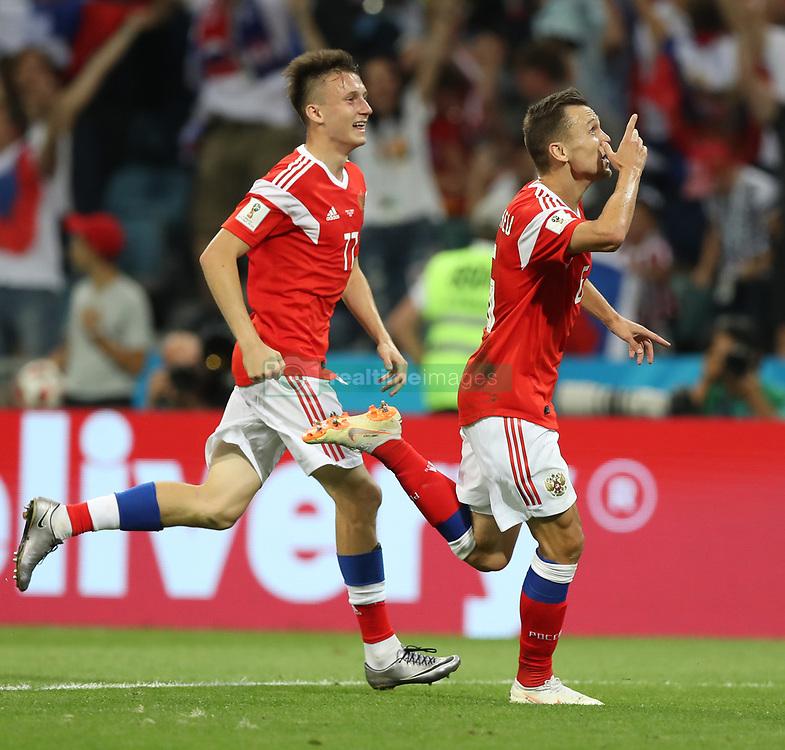 SOCHI, July 7, 2018  Denis Cheryshev (R) of Russia celebrates scoring during the 2018 FIFA World Cup quarter-final match between Russia and Croatia in Sochi, Russia, July 7, 2018. (Credit Image: © Xu Zijian/Xinhua via ZUMA Wire)