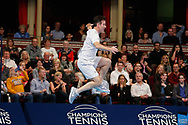 Strictly Come Dancing star Anton du Beke looking more like he's dancing than playing tennis during a celebrity doubles match at the Men's Singles Final Champions Tennis match at the Royal Albert Hall, London, United Kingdom on 9 December 2018. Picture by Ian Stephen.