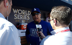 October 24, 2017 - Los Angeles, California, U.S. - Los Angeles Dodgers manager Dave Roberts talks with the media prior to game one of a World Series baseball game against the Houston Astros at Dodger Stadium on Tuesday, Oct. 24, 2017 in Los Angeles. (Photo by Keith Birmingham, Pasadena Star-News/SCNG) (Credit Image: © San Gabriel Valley Tribune via ZUMA Wire)