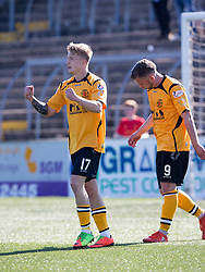 Forfar Athletic's Aidan Smith cele scoring their fourth goal. Forfar Athletic 2 v 4 Annan Athletic, Scottish Football League Division Two game played 6/5/2017 at Station Park.