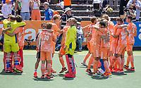 AMSTELVEEN - Vreugde bij Oranje na ghet winnen van de shoot outs  EK hockey, finale Nederland-Duitsland 2-2. mannen.  Nederland wint de shoot outs en is Europees Kampioen.  COPYRIGHT KOEN SUYK