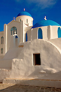 Blue domed Byzantine Greek Orthodox Chapel of Panaghia Gremiotissa. Chora  (Hora), Ios, Cyclades Islands, Greece. .<br /> <br /> Visit our GREEK HISTORIC PLACES PHOTO COLLECTIONS for more photos to download or buy as wall art prints https://funkystock.photoshelter.com/gallery-collection/Pictures-Images-of-Greece-Photos-of-Greek-Historic-Landmark-Sites/C0000w6e8OkknEb8