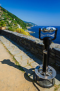 Tourist viewfinder on the Ligurian Coast, Vernazza, Cinque Terre, Liguria, Italy