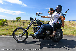 Podcaster Danger Dan Hardick riding out to a reservoir with his wife Katie during the Run to Raton. Raton, NM. USA. Saturday July 21, 2018. Photography ©2018 Michael Lichter.