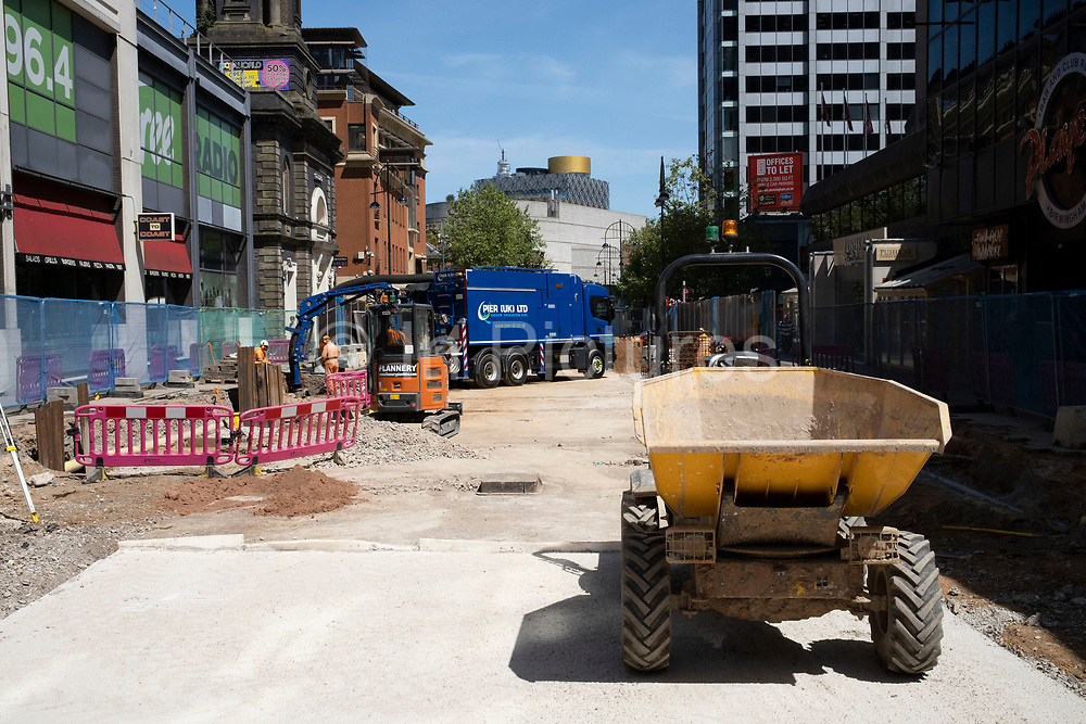 Redevelopment on Broad Street, the citys main partying and drinking street, as the Coronavirus lockdown continues, the city centre is still very quiet while more traffic and people are returning, and with restrictions due to be relaxed further in the coming days, the quiet city may be coming to an end as businesses are set to start to reopen soon on 27th May 2020 in Birmingham, England, United Kingdom. Coronavirus or Covid-19 is a respiratory illness that has not previously been seen in humans. While much or Europe has been placed into lockdown, the UK government has put in place more stringent rules as part of their long term strategy, and in particular social distancing.