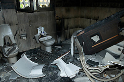 © under license to London News Pictures. 24/02/2011. A destroyed bathroom in Ayesha Gaddafi's palace in the Libyan city of Benghazi. Ayesha is Muarmmar Gaddafi's only biological daughter. Photo credit should read Michael Graae/London News Pictures