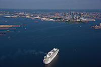 Aerial photo of cruise ship Royal Caribbean Grandeur of the Seas sailing the Patapsco River from Francis Scott Key Bridge to the Maryland Cruise Terminal in Baltimore