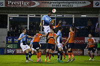 Blackpool's Armand Gnanduillet gets a header on goal<br /> <br /> Photographer Craig Mercer/CameraSport<br /> <br /> The EFL Sky Bet League Two Play-Off Semi Final Second Leg - Luton Town v Blackpool - Thursday 18th May 2017 - Kenilworth Road - Luton<br /> <br /> World Copyright © 2017 CameraSport. All rights reserved. 43 Linden Ave. Countesthorpe. Leicester. England. LE8 5PG - Tel: +44 (0) 116 277 4147 - admin@camerasport.com - www.camerasport.com
