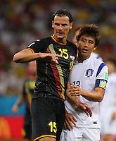 Daniel van Buyten of Belgium and Koo Ja-Cheol of South Korea