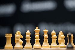 November 10, 2018 - London, GREAT BRITAIN - 181110 Chess pieces ahead of round 2 of The FIDE World Chess Championship 2018 on November 10, 2018 in London. .Photo: Fredrik Varfjell / BILDBYRÃ…N / kod FV / 150158 (Credit Image: © Fredrik Varfjell/Bildbyran via ZUMA Press)