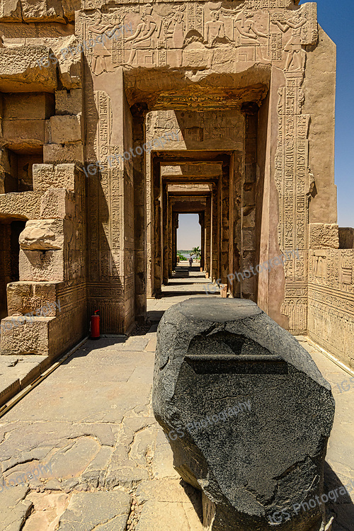 The black granite stone pedestal in the Temple of Sobek, at Kom Ombo, that would have supported the divine barque