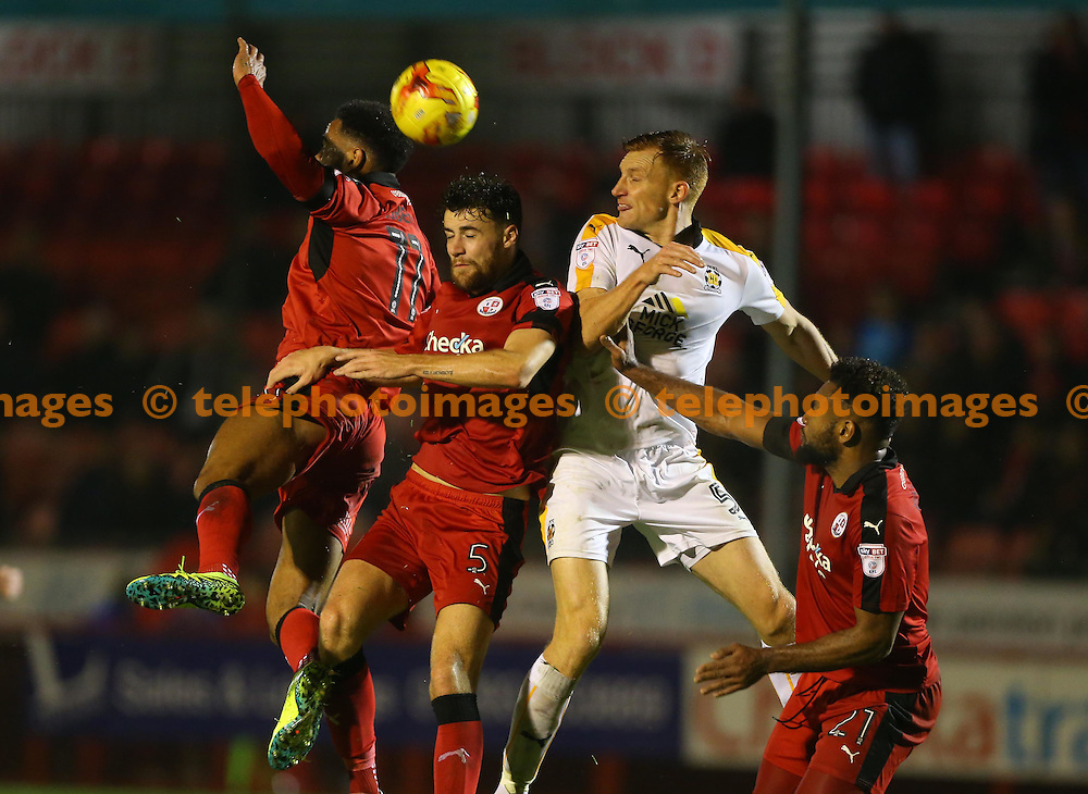 Crawley's Alex Davey and Jordan Roberts attack during the Sky Bet League 2 match between Crawley Town and Cambridge United at the Checkatrade Stadium in Crawley. November 12, 2016.<br /> James Boardman / Telephoto Images<br /> +44 7967 642437