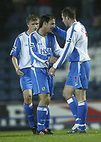 Photo. Aidan Ellis, Digitalsport<br /> Blackburn Rovers v Bournemouth<br /> Carling Cup 2nd round.<br /> 22/09/2004.<br /> Blackburn's Matt jansen congratulates Brett Emerton on his goal the first of the game